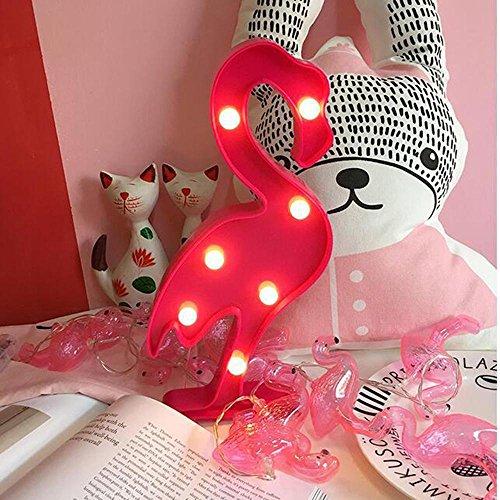 niceEshop(TM) Lámpara de Pared,decoración de la Pared, Fiesta de Cumpleaños de Vacaciones LED Lámpara , Luz de la Batería para los Niños,Flamingo Rojo