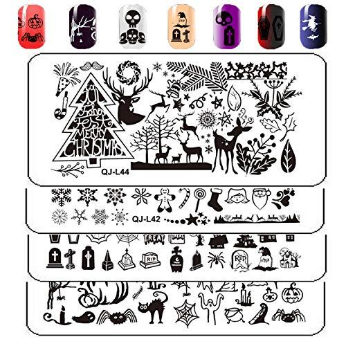 ARTIFUN 4 stk Nagel Kunst Stamping Schablone Set Nail Plates Für Halloween und Weihnachten (Halloween+Christmas)