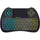 QPAU [Layout Italiano] Mini Tastiera Retroilluminata, 2.4Ghz Mini Tastiera Senza Fili Wireless con Touchpad per PC, Pad…