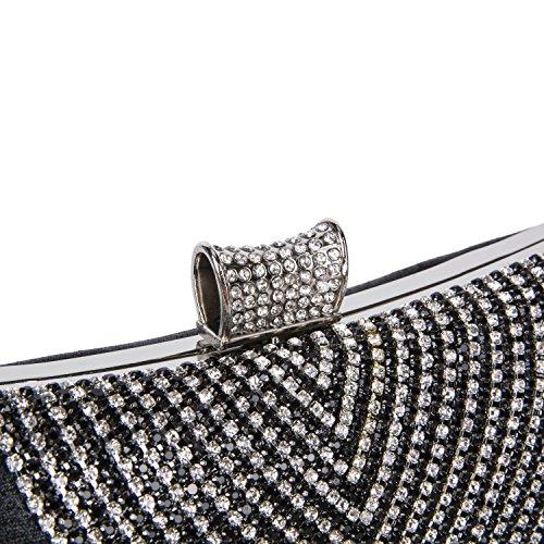 Pochette Elegante da Cerimonia Diamante Borsetta da Sera Donna Borsetta da Matrimonio con Catena per Nozze Festa Partito, Argento Nero