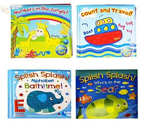 Baby Bath Books Plastic Coated Fun Educational Learning Toys for Toddlers & Kids (Set of all 4 Books)