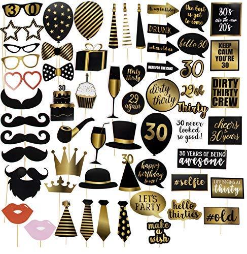 Foto-Requisiten zum 30. Geburtstag - 60er Pack Geburtstag Party Supplies Selfie Requisiten Party Gastgeschenke für Cocktail-Partys, Schwarz und Gold