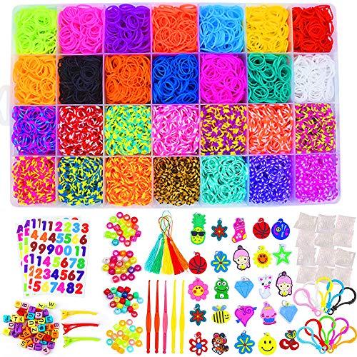 EXCEED Loom Bänder Kit, 10,000 Gummibänder + 600S Schnalle + 200 Perlen + 52 ABC-Perlen (je 2) + 30 Muster + 10 Haken + 5 Quasten + 5 Häkelnadeln + 3 Haarspangen + 4 Aufkleber