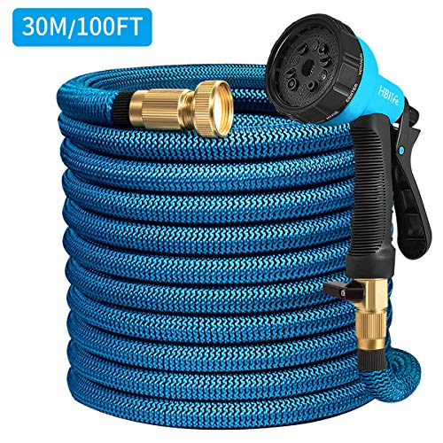 HB life Tuyau d'arrosage Tuyau Flexible Tuyau d'eau Tuyau Extensible à Multifonction Elastique Flexible pour Irrigation et Nettoyage du Jardin 8m/15 m/23m/30m(Bleu)