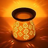 CMXING White Ceramic Oil Burner Hollowing Floral Aroma Lamp Oil Diffuser Candle Essential Oil Burner Ceramic, including Ceram