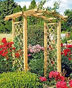 Holz pergola mit bogen und rankgitter garten for Gartengestaltung rosenbogen