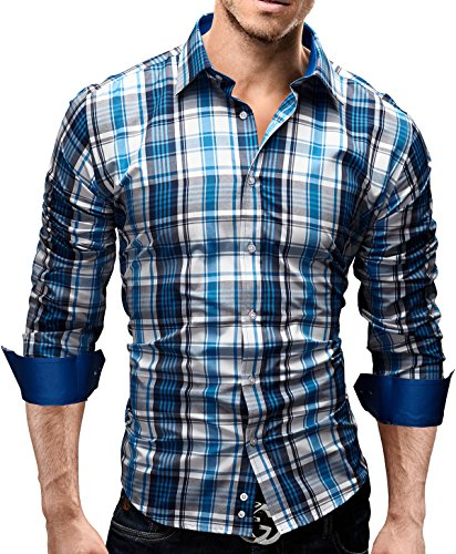 Merish-Camicia-Uomo-a-scacchi-Slim-Fit-3-Colori-Taglia-S-XXL-Modell-39-Blu-L