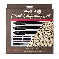 William Mitchell - Set regalo completo da calligrafia con 3 penne, 17 pezzi, per mancini, per tutti i livelli