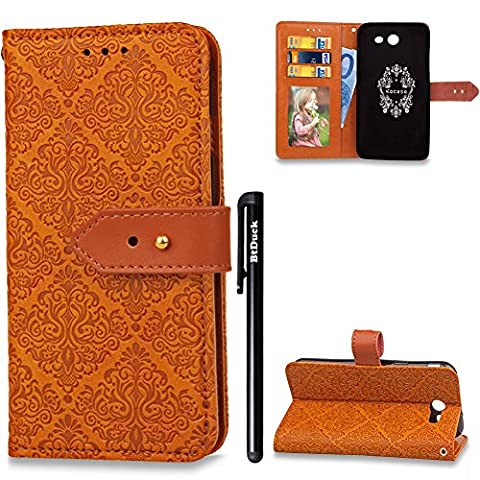 BtDuck Leather Solid Color Case Samsung Galaxy J3 2017 Individuality Fashion Orange Suitable For Female College Students To Use Cute Charm Wallpaper Brown Metal Buckle Phone Stand Protector Flip Folio Cover Anti-slip Skin Outdoor Protection Simple Strict Shockproof Heavy Duty Robust Bumper Case Shell with Stander Oyster Card ( Travel Card Bus Pass ) Holder Slots Pocket Kickstand Function Magnetic Closure Family Photo Folder + 1 * Black Stylus Pen Black