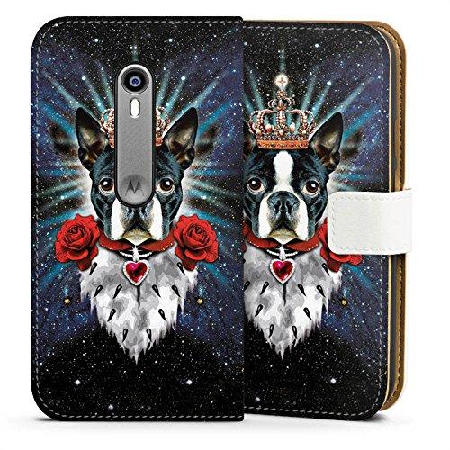 Motorola Moto G3 Tasche Hülle Flip Case Dog Hund Chien (Bag Boston Weiße)