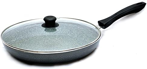 Classic Cookware Marble Coated Aluminum Taper Fry Pan with Glass Lid in Grey (26cm/1.7Ltr)