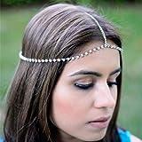 Jovono - Catena per capelli bohémien, con strass, accessorio per capelli alla moda, per donne e ragazze, colore: argento
