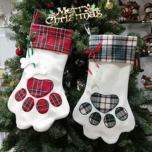 OCTOPUSIR Christmas Stockings Set of 3 Santa 2018 Reindeer, Snow And Reindeer Pattern Xmas Stocking Classic Nordic Christmas Decorations, Fireplace Stockings Plush 3D Applique 18-Inch, Set of 3