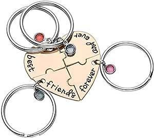 Yakiki Cuore inciso 'Best Friends Forever And Ever' Lega di Diamanti Strass Keychain BBF Gioielli di Amicizia per Adolescenti Ragazzi Ragazze Adulti Amanti
