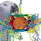 xMxDESiZ Bunte Papagei Kauen Rattan Ball Papier String Käfig Haustier Hängen Spielzeug Dekor Zufällige Farbe