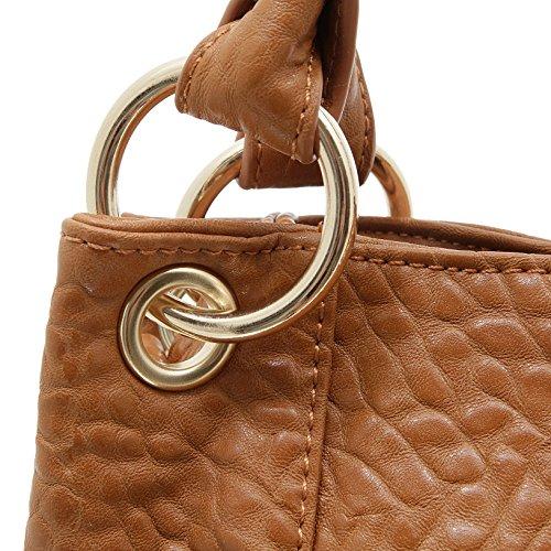 e3fda1aadb8b1 ... Jennifer Jones 3979 Handtasche Damen Shopper Damentasche Henkeltasche  Schultertasche Tasche Nieten Cognac