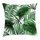 Abakuhaus Palmblatt Kissenbezug, Lebhaftes Blatt Wald Natur Wachstum, 40 x 40 cm, Waschbar mit verstecktem Reißverschluss Kissenhülle mit Farbfesten Klaren Farben, Grün Weiß