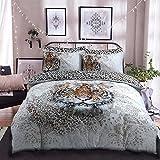 Leinen Galaxy Animal Designs Panel Print Polycotton Bettbezug mit Kissen Betten Sets, tiger, Einzelbett
