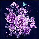 Yeehyc 5D DIY Diamant Malerei Set, Vollbohrer Kristall Strass Kreuzstich Stickerei Bilder Kunst Handwerk für Home Wand Decor, Lila Rose 30x30cm