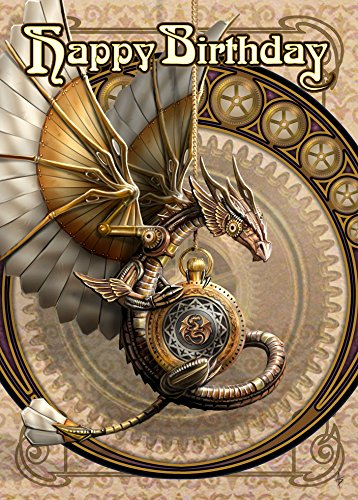 Anne Stokes Geburtstags-Grußkarte, Motiv Uhrwerk-Drache, Steampunk-Stil, Jugendstil