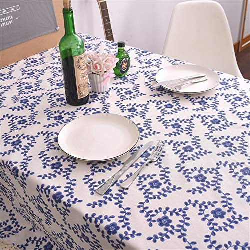 NGLSZSG Tischdecke Blaue Und Weiße Porzellan Bedruckte Tischdecke Blaue Pflaume Baumwolle Leinen Tischdecke Tischdecke Tischdecke Tuch Tischwäsche