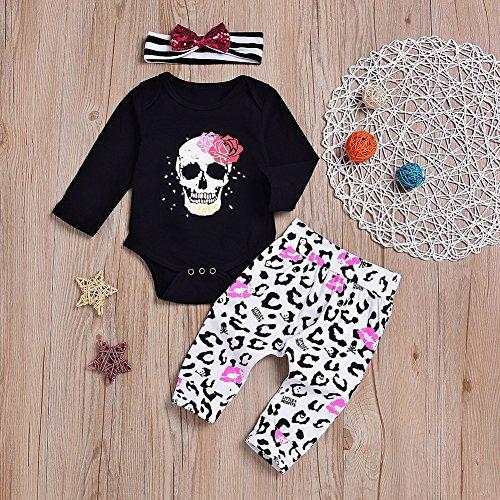 Bangle009Ausverkauf Totenkopf Infant Baby Mädchen Langarm Strampler Hose Haarband Halloween Kleidung Set, Schwarz, 70cm(0-3M)