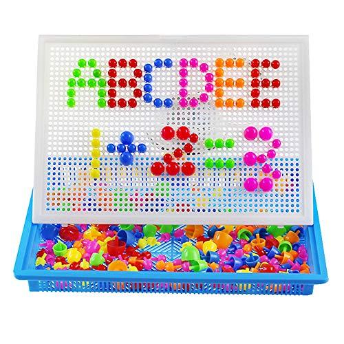 XYRONG 296 Stücke von kreativen Kinder Pilz Nagel Spielzeug Zauberbrett Kombination Bildung Farbe Puzzle Bausteine Ziegel kreativ geeignet für Kinder im Alter von 3-8 Jahren - Ziegel Farbe Teppiche
