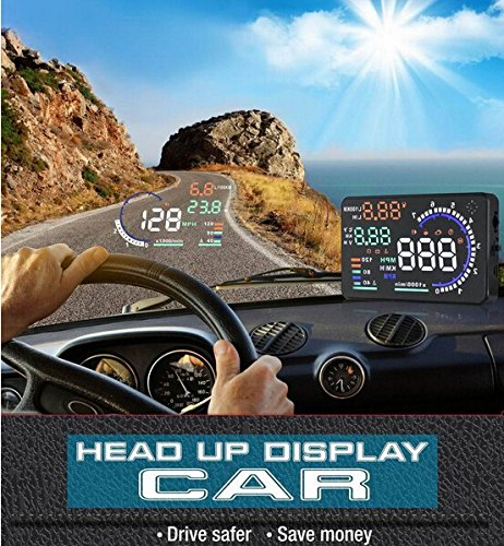 BW Universal 13.97 cm großes Display, Multicolor-Up-Display mit OBD2 Interface &-Stecker Play-Display HUD kombiniert