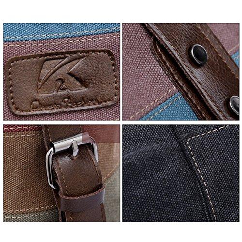 Aisi Damen Multi-Farben Striped Canvas Umhängetasche / Schultertasche /Handtasche /Henkeltaschen Mehrfarbig