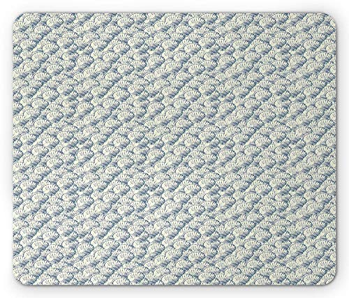 Blue and Ivory Mouse Pad, Sketch Style Scallop Shells Composition Marine Wildlife Elements Gaming Mousepad Office Mouse Mat Cadet Blue and Ivory Ivory Scallop