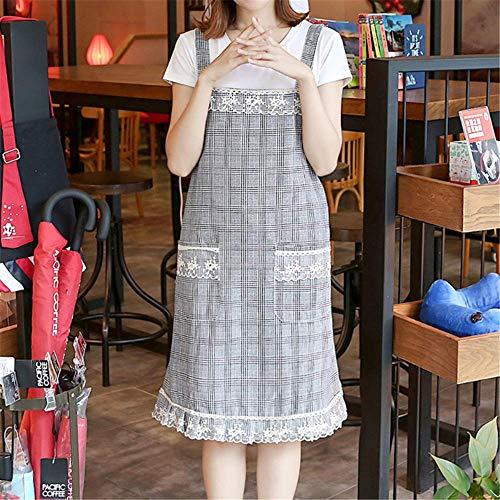 YXDZ (2 Stück Einfache Nordische Art Koreanische Spitze Rock Schürze Baumwolle Schürze Staub Und Ölbeständige Overalls Dicke Doppel Grau (Juniors Jeans Größe 2)