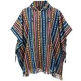 loudelephant 100% INTRECCIATO GHERI Cotone Messicano stile Poncho con cappuccio - Blu & Rosso