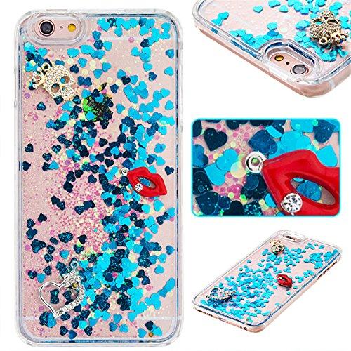 iPhone 6S Plus Hülle, iPhone 6 Plus Hülle, Gift_Source [ Gold & Engel Krone ] Schutzhülle harte plastik Schutz Handy Hülle Case, Creative 3D strom flüssiger durchdrungen von glitzer und sterne Hülle C E1-Blaue und rote Lippen