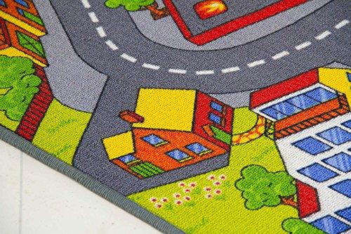 Kids Road Map Playmat Rug City - Children's Play Village Mat Town Roads Cars, Size 300x400 cm (9'9