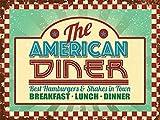 RKO The American Diner Straßenrand Cafe,50's, 60's Abendessen Zeichen für Küche, Haus, Essen, Cafe Kaffee Geschäft, pub, restaurant. Metall/Stahl Wand Zeichen - 9 x 6,5cm (Magnet)