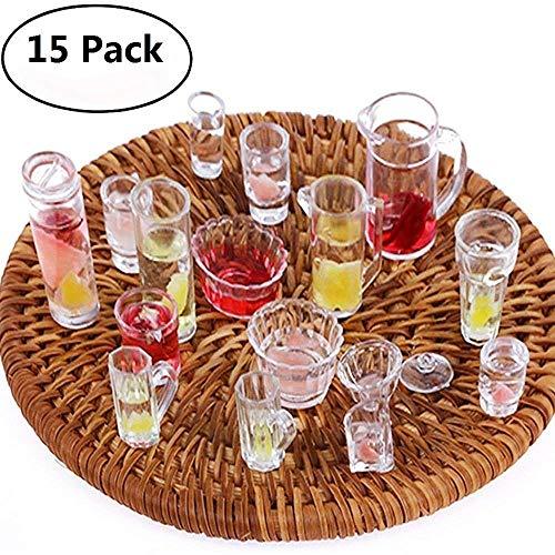 Uteruik 15-teiliges Set mit Teller, Tassen, Schüsseln, Geschirr für Puppenhaus, Miniaturspielzeug, Puppe, Lebensmittel, Küche, Wohnzimmer-Zubehör