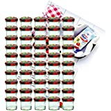 50er Set Sturzglas 125 ml Marmeladenglas Einmachglas Einweckglas To 66 Obst Dekor Deckel incl. Diamant-Zucker Gelierzauber Rezeptheft