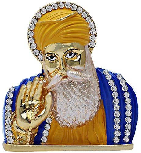 GCT Guru Nanak Dev Ji Idol Metal Statue for Car Dashboard | Mandir Pooja Murti | Temple Puja | Home Decor | Office Showpiece