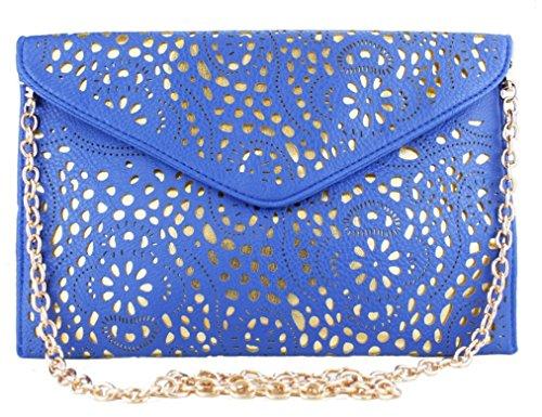 HandBagCrave® Umschlaghandtasche handtasche Patent Krokodil Cutout Schlange Nieten Schultertaschen (Ausgeschnitten Blau) (Ausgeschnitten Patent)