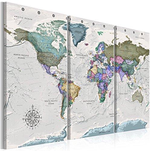 Murando - quadro mappamondo 135x90 cm - xxl formato - quadro su fliselina - stampa in qualita fotografica - 3 parti mappa del mondo grigio k-a-0380-b-e