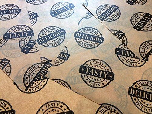 Deliziosi e saporiti marrone fogli di carta oleata Stampa Hamburger alimentare Wrap Deli antiscivolo (500fogli)