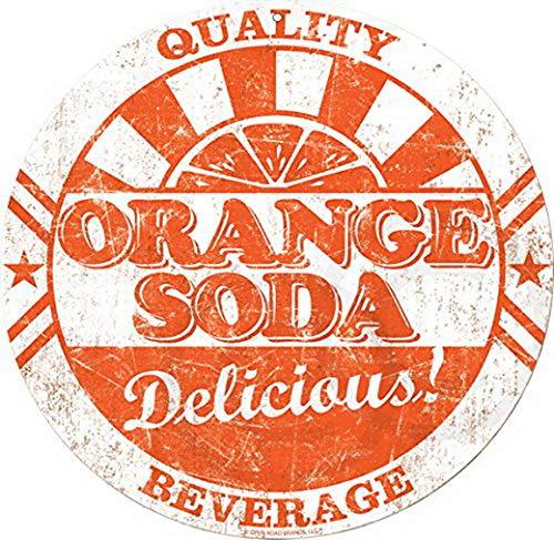 Harvesthouse Signs Drink Orange soda Bottle Cap Reproduction Metal 12 inch Round by Orange Scrub Cap