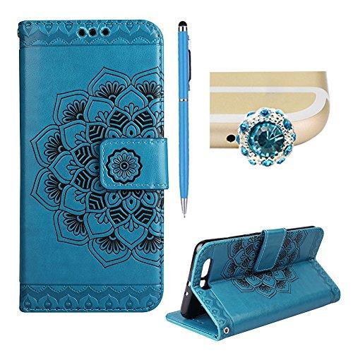 Geprägte Karte Fall (Für Huawei P10 Fall, SKYXD Elegante einfarbig geprägt Mandala Blume Folio Bookstyle Pu Leder für Huawei P10 + Stylus + Staub Stecker,blau)