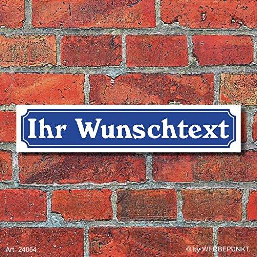 """Schild im Straßenschild-Design """"Ihr Text"""" - 3 mm Alu-Verbund - 52 x 11 cm"""