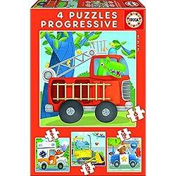 Educa Borrás - Patrulla de Rescate, set de 4 puzzles progresivos de 6, 9, 12 y 16 piezas (17144)