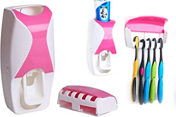 DeoDap Automatic Toothpaste Dispenser and 5 Toothbrush Holder for Home Bathroom Acessories Set