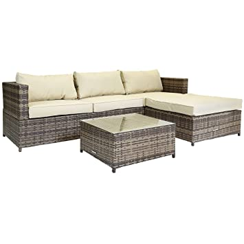 charles bentley l shaped 3 seater rattan outdoor garden conservatory patio furniture lounge set with footstool brown amazoncouk garden outdoors