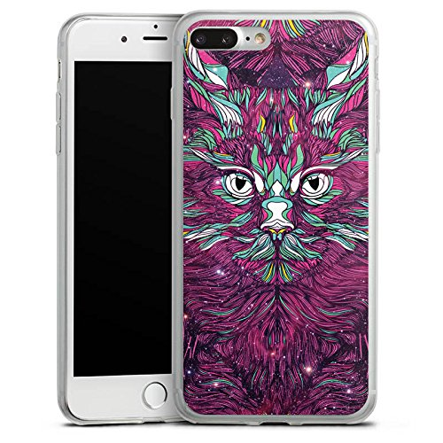 Apple iPhone 8 Slim Case Silikon Hülle Schutzhülle Space Cat Katze Kitty Silikon Slim Case transparent