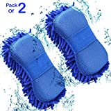 #8: Hugo Car Styling Sponge Microfiber Washer Towel Duster For Cleaning Car Microfibre Chenile Duster With Sponge & Grip. 2 in 1. Car Accessories. Useful for cleaning Car, Glass, Motorcycle, Bike, Mirror, Tile Etc.(Pack Of 2)