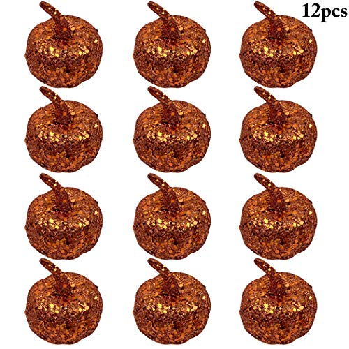 12 STÜCKE Halloween Kürbis Simuliert Mini Kürbis Tisch Ornament Halloween Prop (Tisch Für Halloween 12)